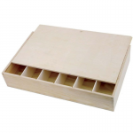 6 Bottle Wooden Gift Box with Sliding Lid
